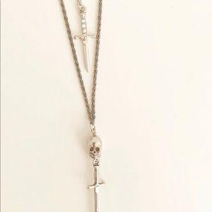 Vanessa Mooney Skull & dagger layered necklace